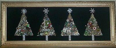 "12""x 30"" Framed Vintage Jewelry Christmas Trees Four Trees OOAK Altered Art | eBay"