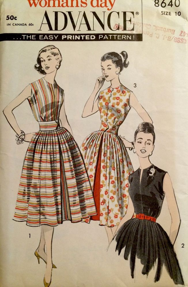 1950\'s Vintage Sleeveless Pleated Dress Advance Sewing Pattern #8640 ...