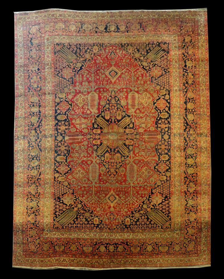 Woodlands Oriental Rug Gallery Persian Antique Kashan Mohtasham 12 6