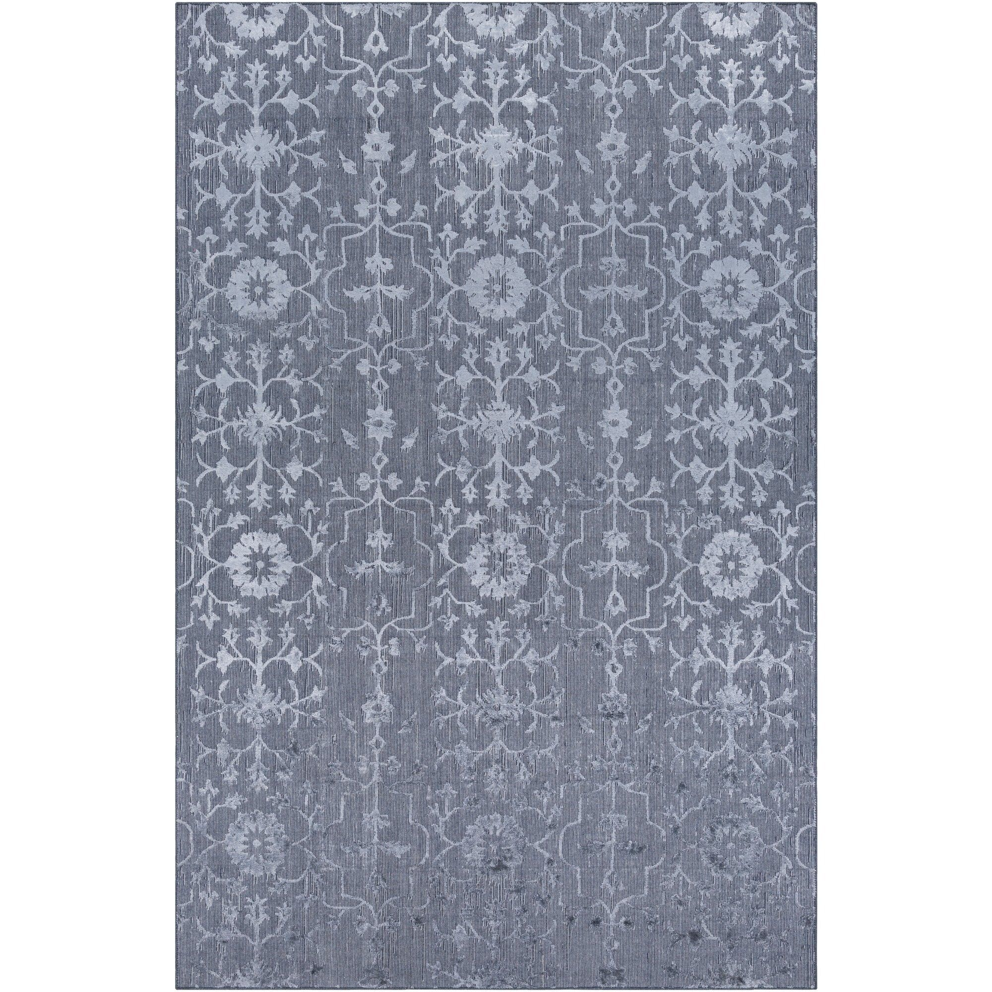 Hand Knotted Wave Viscose Area Rug 9 X 13 9 X 13 Blue