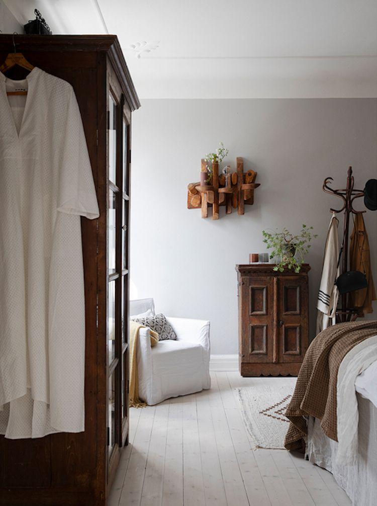 Beautiful Swedish Bedroom With Dark Wood Vintage Furniture Vintage Bedroom Furniture Dark Wood Bedroom Home Decor
