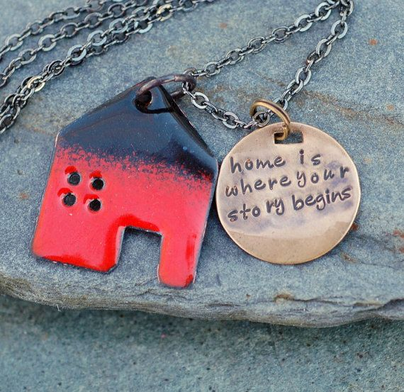 Hand Crafted Enamel House Necklace Pendant Copper Home: Enamel House Home Necklace Handstamped Brass Tag Pendant