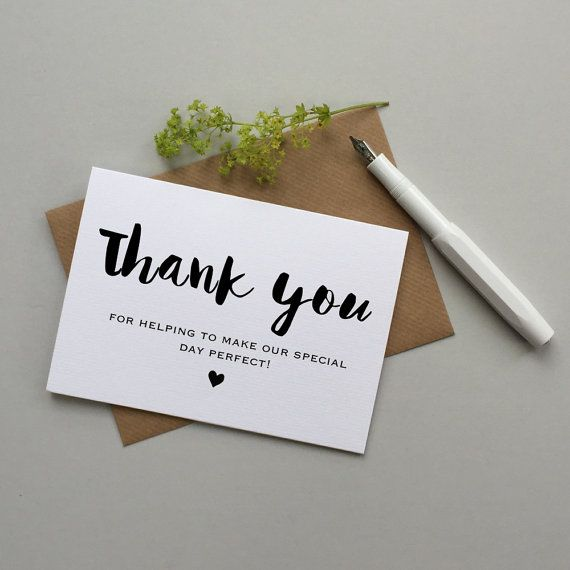 Wedding thank you card Thank you card for wedding help – Personalized Thank You Wedding Cards