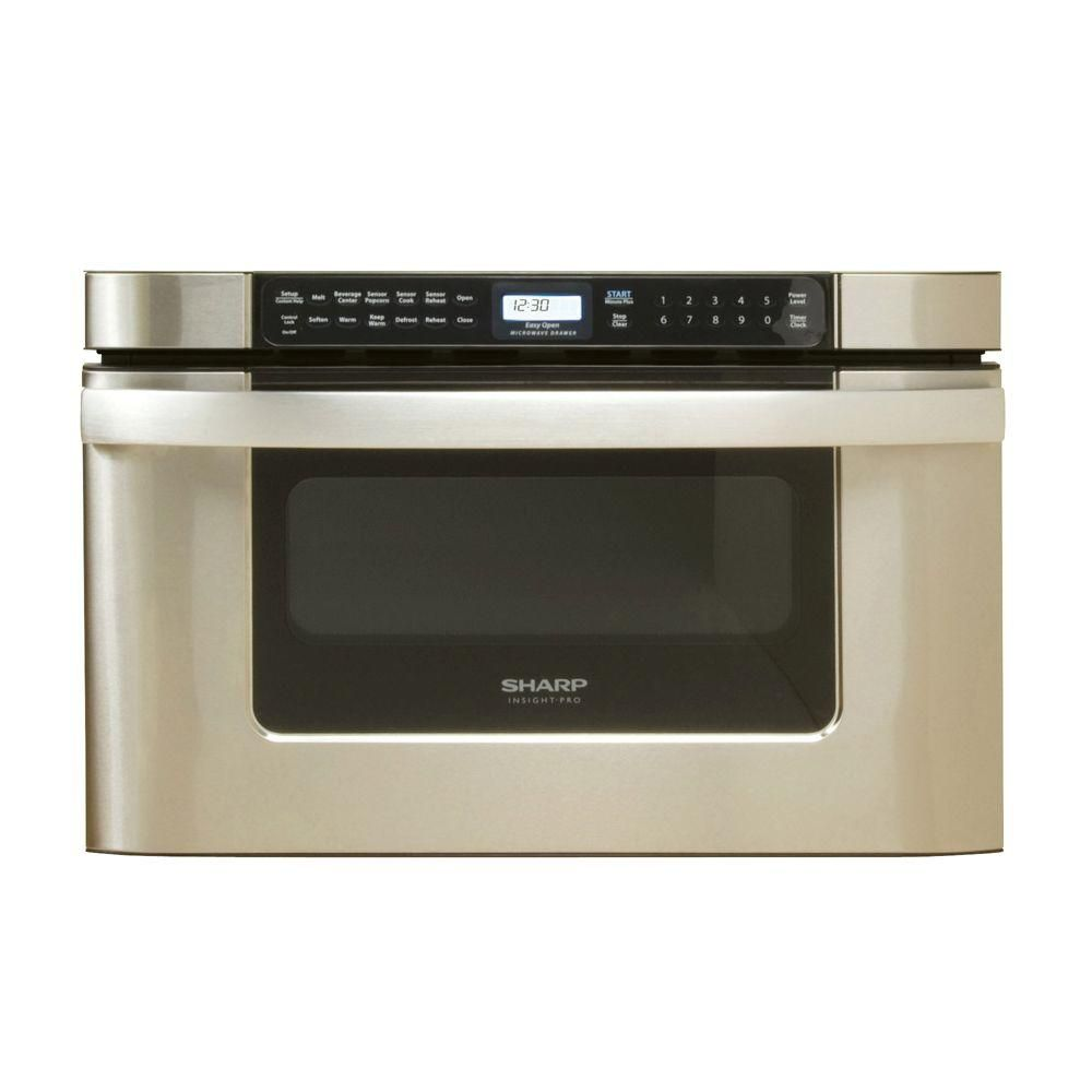 Sharp 24 In W 1 2 Cu Ft Built In Microwave Drawer In Stainless Steel With Sensor Cooking Kb6524psy The Home Depot Microwave Drawer Kitchen Appliance Trends Built In Microwave