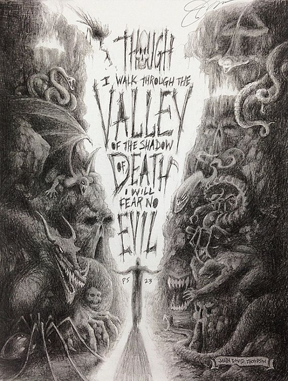 Shadow Valley Fine Art Print Pencil Drawing Based On Psalm 23 On