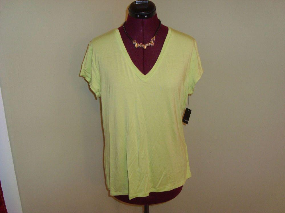 New WT Tahari Sz XL Women's Sharp Green Bally Knit V Neck Top Cap Sleeves $68.00 #Tahari #KnitTop