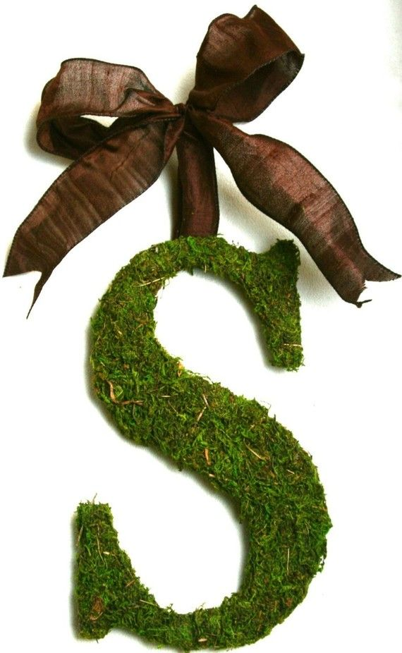 moss-covered initial wreath , I want to make this for our house
