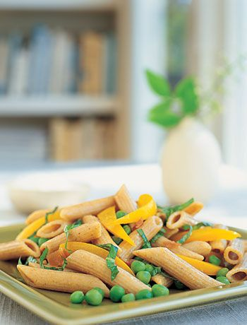 Penne With Prosciutto. the peas and peppers make it light and perfect for spring.