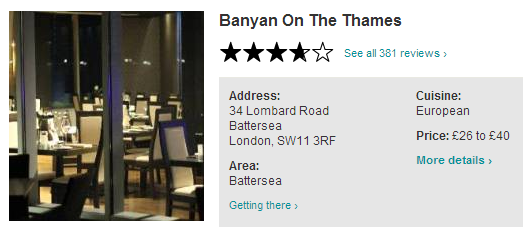 2 Course Luch £15, Traditional Afternoon Tea For 2 OR 50% OFF Food @ Banyan On The Thames Battersea London SW11  http://www.toptable.co.uk/banyan-on-the-thames