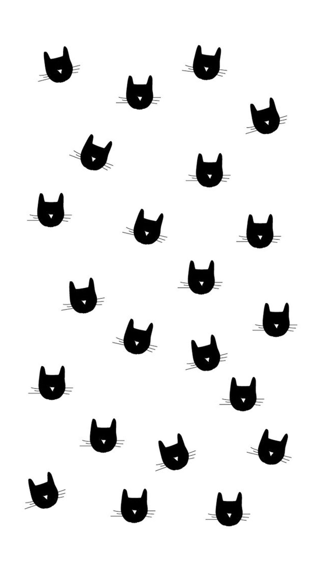 Cat Heads Pattern Iphone 6 Plus Wallpaper Cat Wallpaper Android Wallpaper Iphone Background