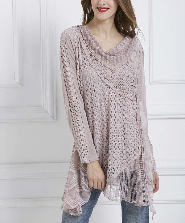 Look at this Simply Couture Pink Abstract Crochet Cowl Neck Tunic on #zulily today!