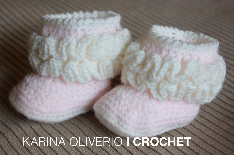 Crochet baby boots pattern, hand made. Botitas a crochet para bebé ...