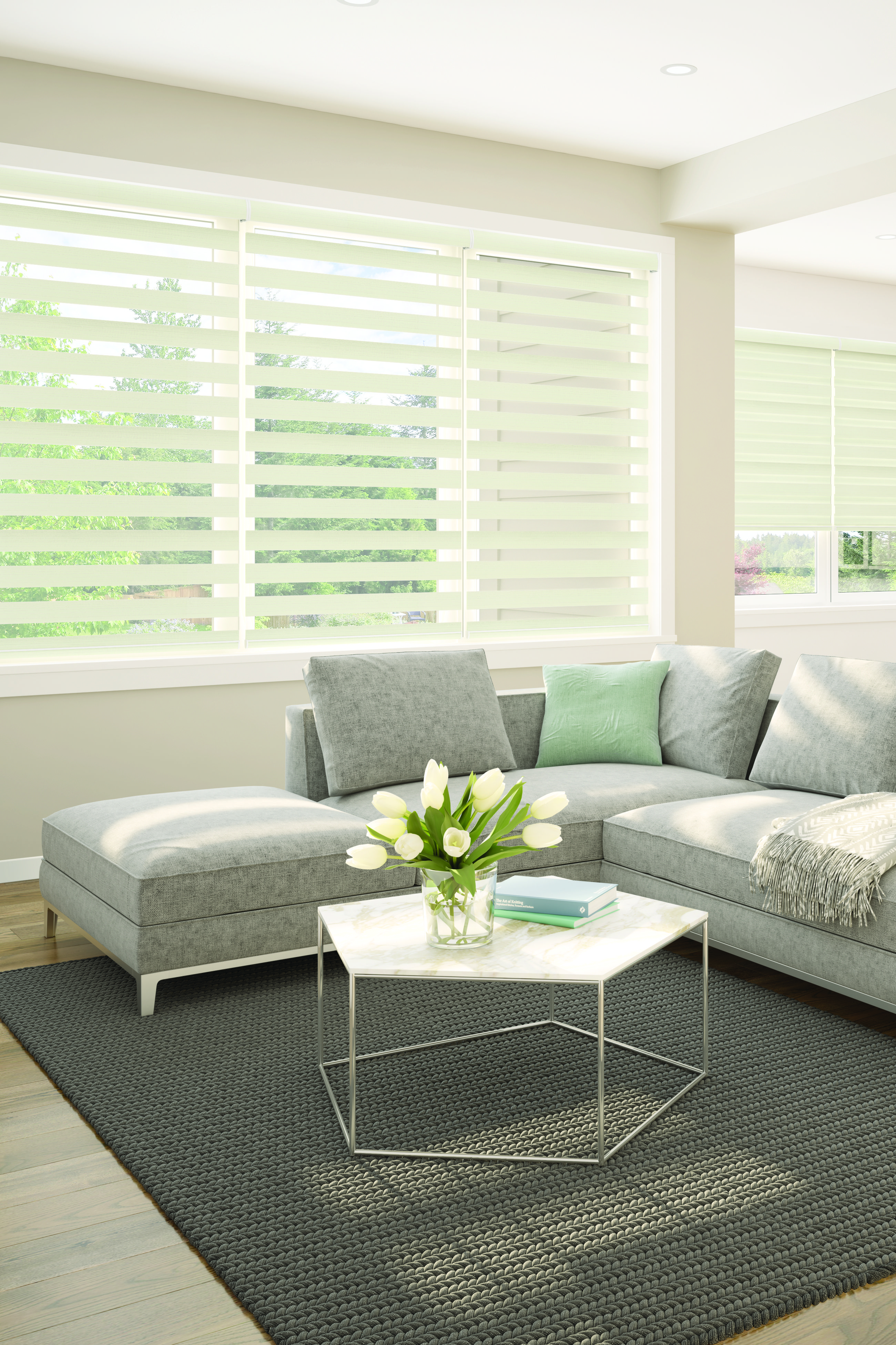 Levolor Custom Banded Shades In Noble Cream Window Shades Home