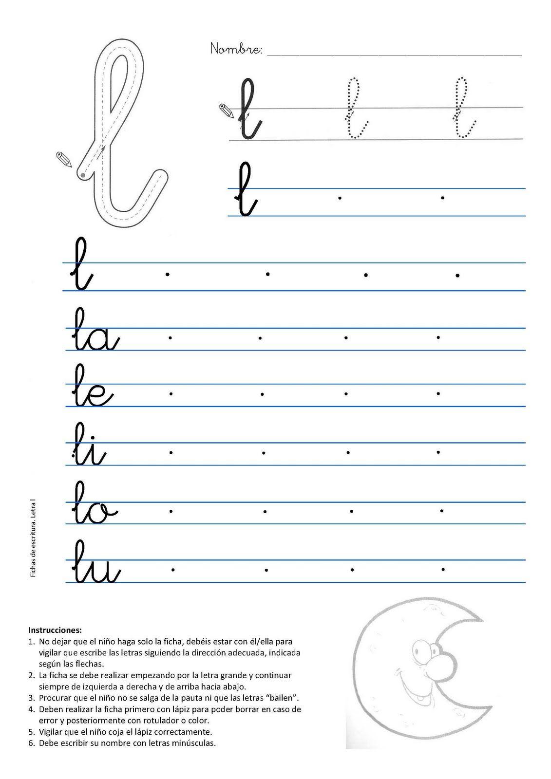 Caligrafia letra l luna | Ita | Pinterest | Schulen, Schreiben und ...