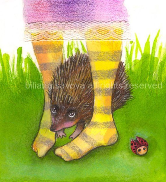 ORIGINAL WATERCOLOR PAINTING HEDGEHOG LADYBUG STRIPPED LACE GREEN ART 5/5.5 inch