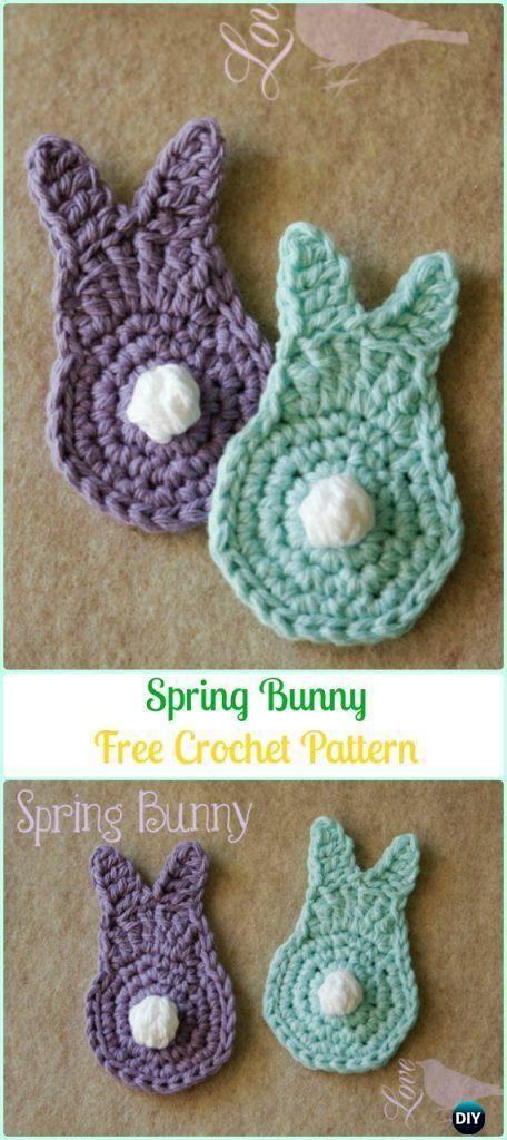 20 Crochet Bunny Applique Free Patterns #crochetapplique