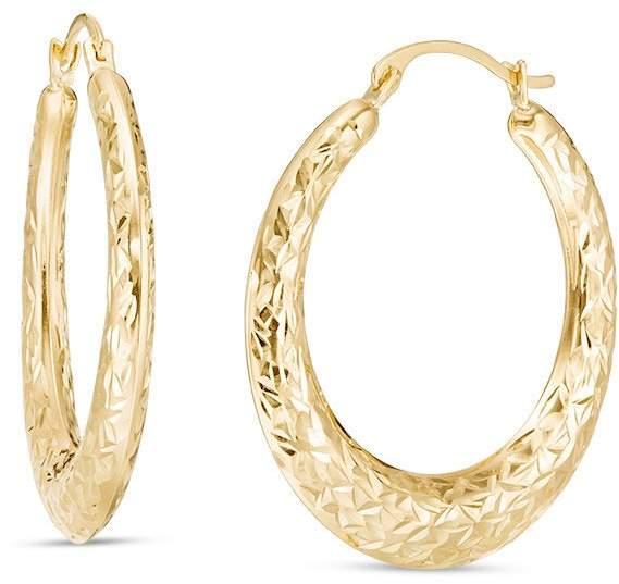 3c9b9aab4 Zales 20.0mm Diamond-Cut Hoop Earrings in 14K Gold | Fashion in 2018 ...