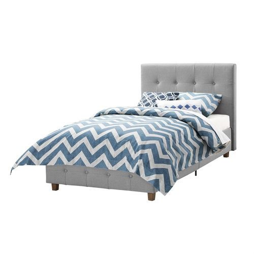 Twin Grey Upholstered Platform Bed Frame with Button-Tufted Headboard