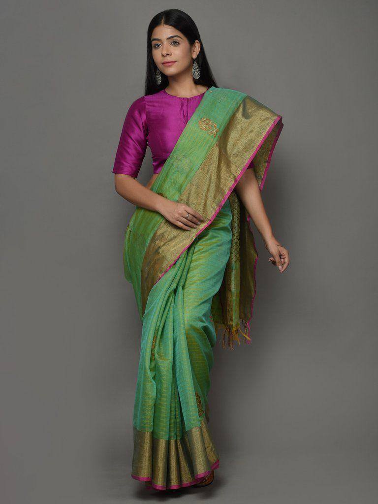 da66b0f206dac Green Magenta Kora Cotton Handwoven Banarasi Saree