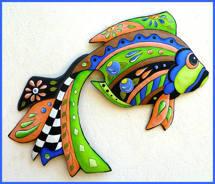 Hand painted metal green blue tropical fish wall hanging