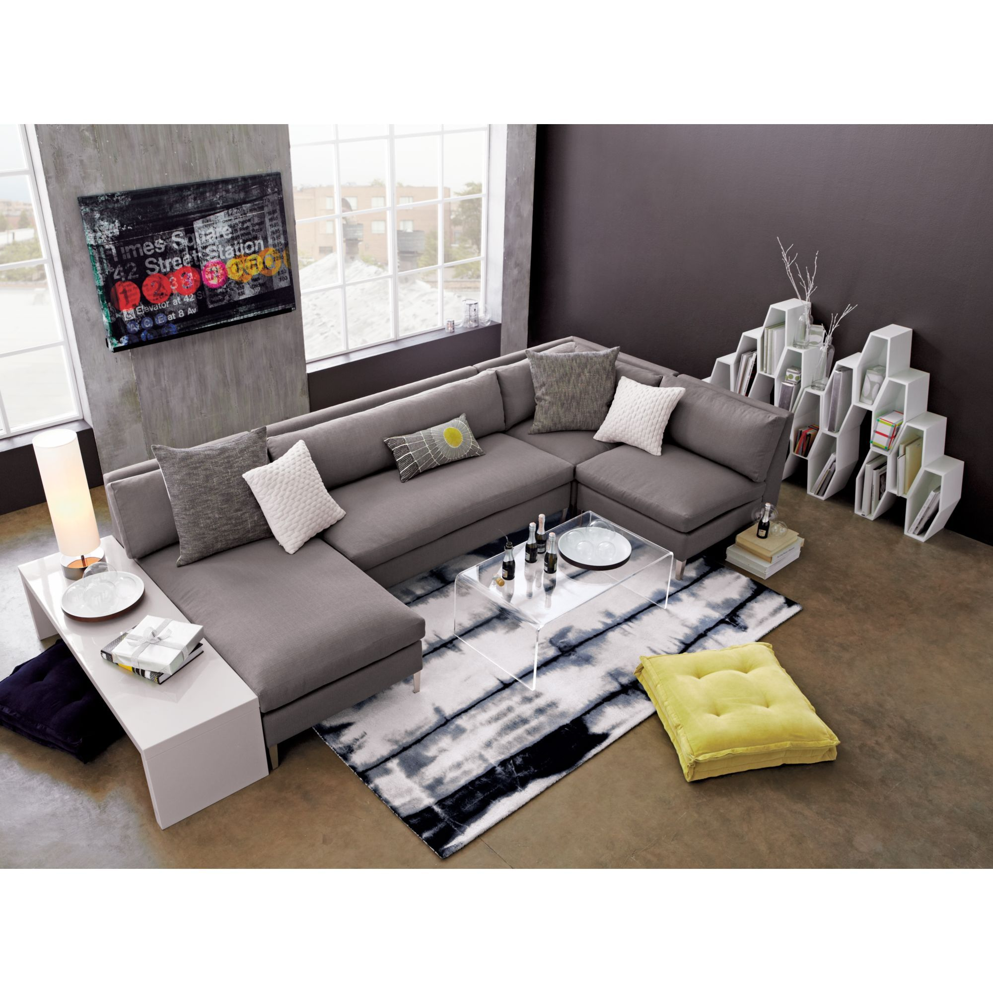 Modern Coffee Table For Sectional: Cielo Shadow Sectional Pieces In Sectionals