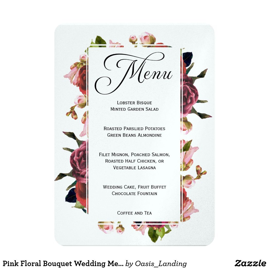 Pink floral bouquet wedding menu card wedding menu cards menu pink floral bouquet wedding menu card mightylinksfo Choice Image