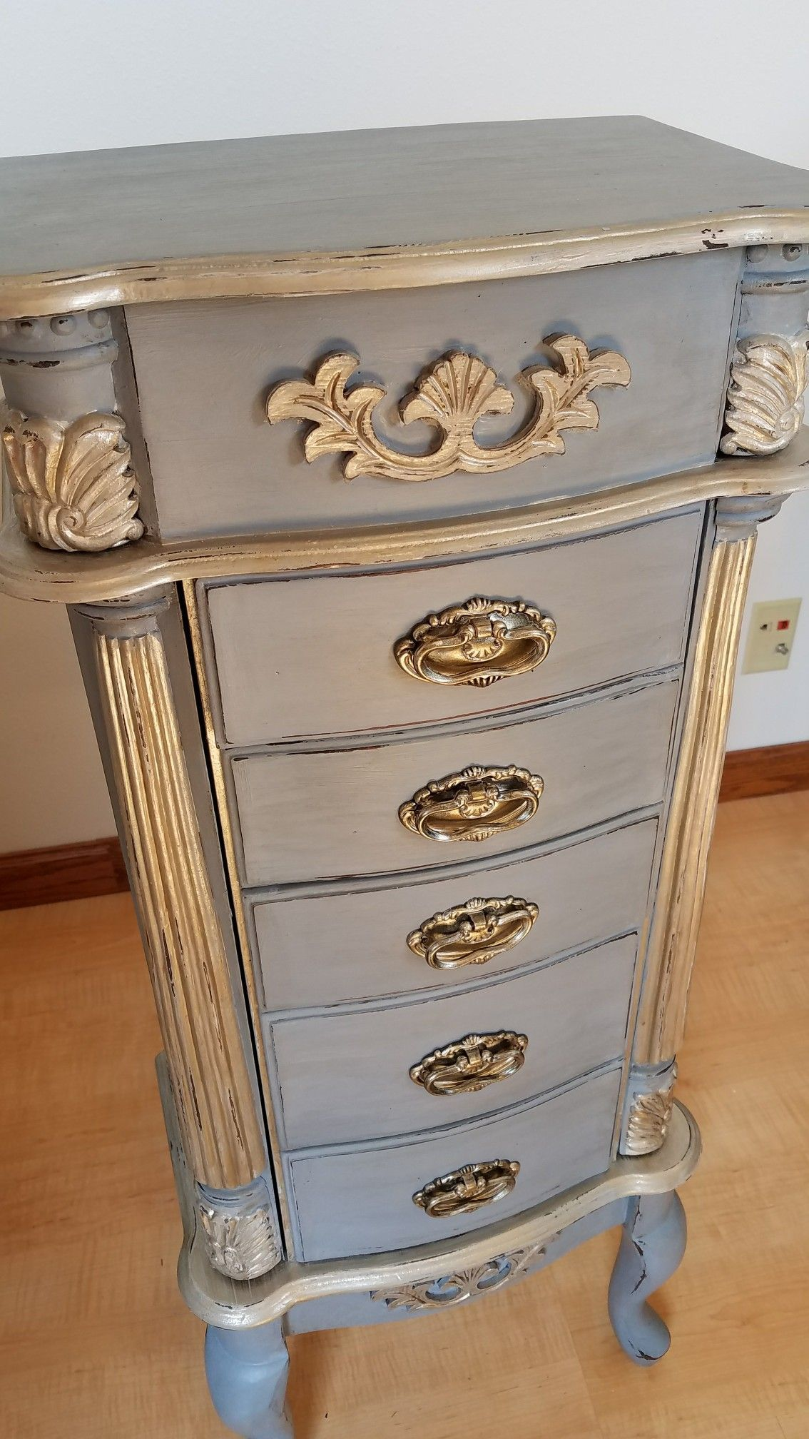 Refurbished grey gold jewelry armoire menusjewelry