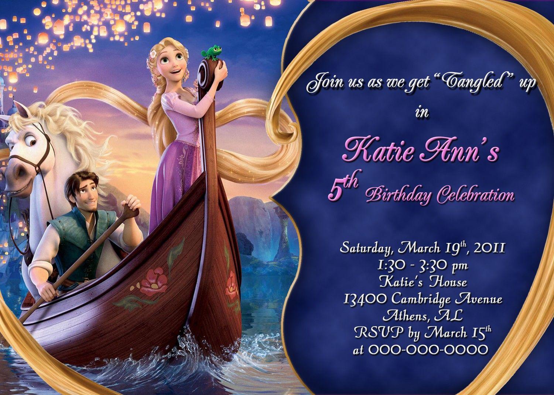 rapunzel birthday invitation