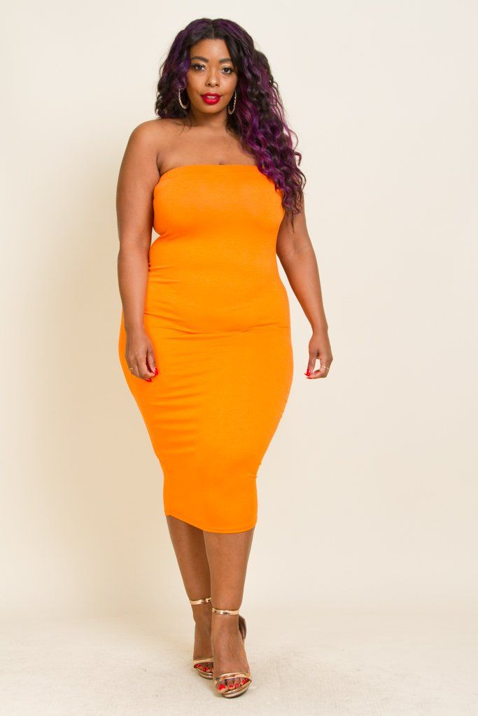 82cad5ed712 Plus Size Solid Color Tube Top Dress Model wearing 3X (Royal Fuchsia) Model  wearing 2X (Orange) Made in USA