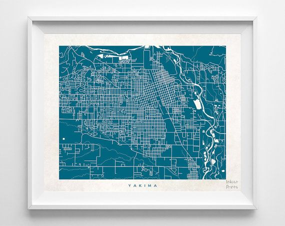 Washington Yakima WA USA UnitedStates Print Map Poster