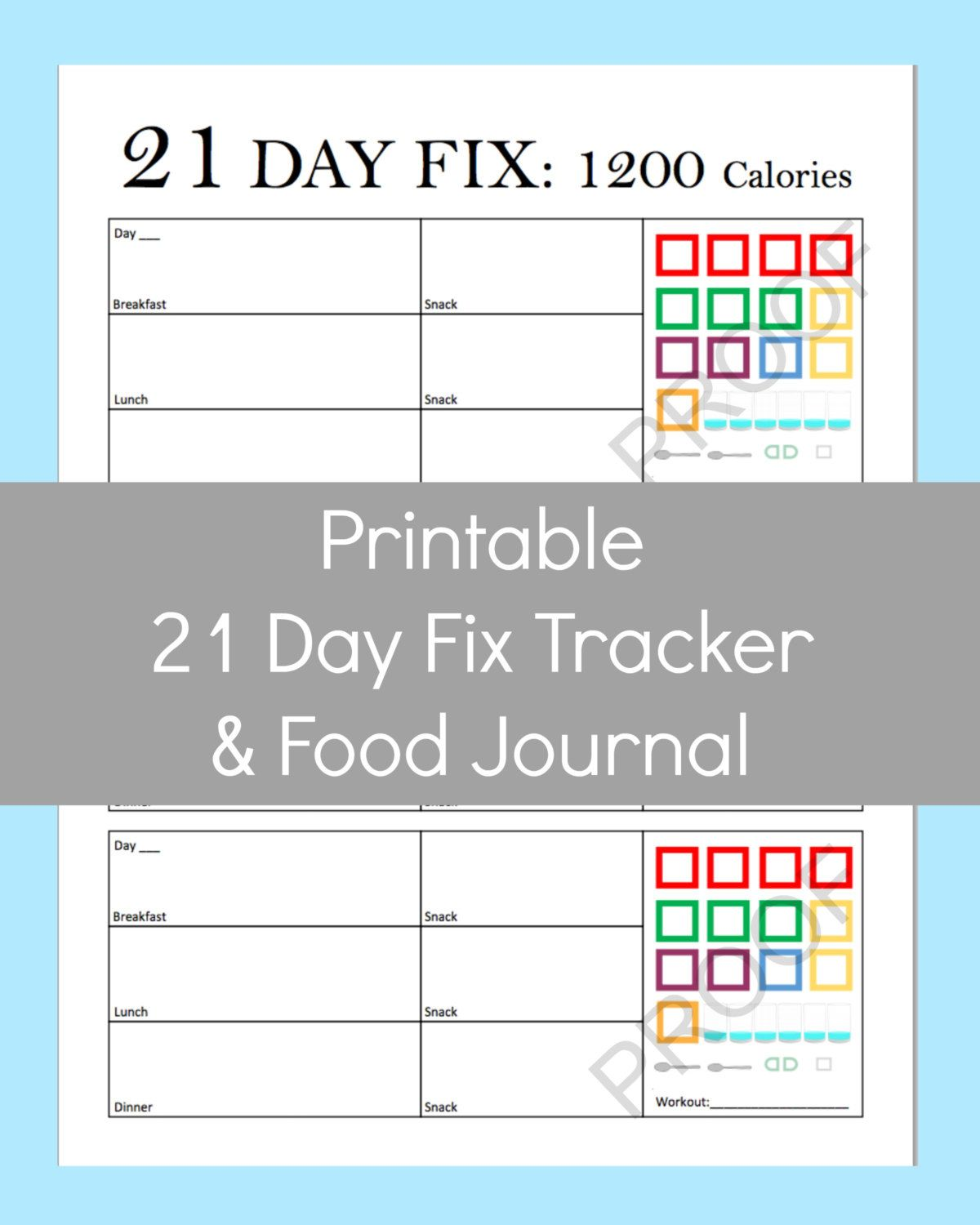 New To Commandcenter On Etsy 21 Day Fix Printable Tracker Calories 2 99 Usd