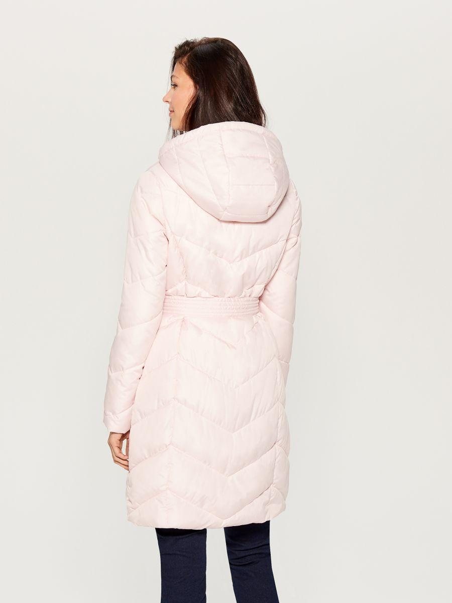 Pikowany Plaszcz Z Kapturem Rozowy Uw005 03x Mohito 6 Hoodie Coat Fashion Coat