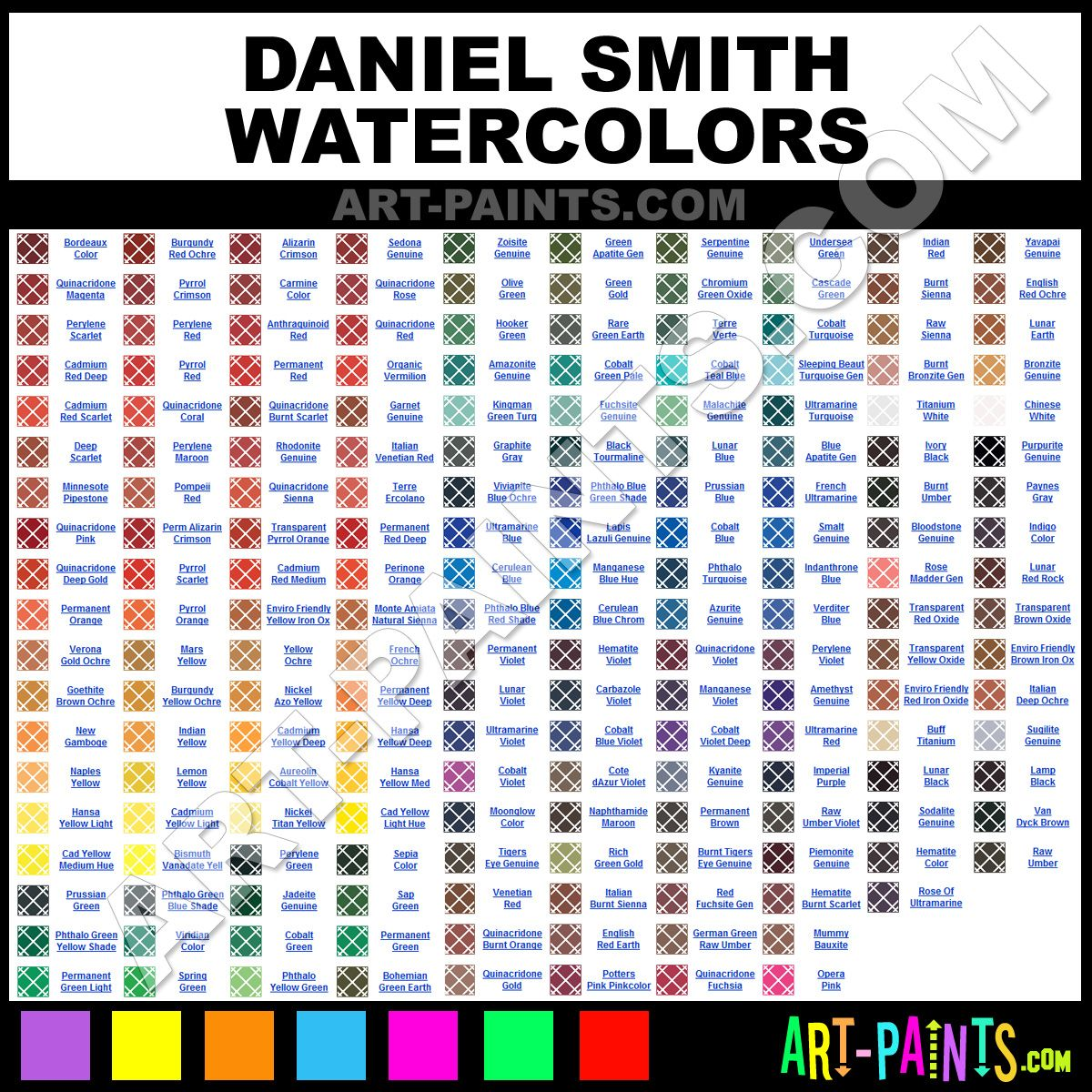 Daniel Smith Watercolor Chart Painting Subjects Watercolor