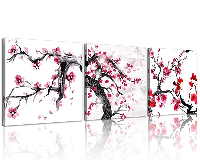 Amazon Com Nan Wind 3 Pieces Modern Canvas Painting Watercolor Spring Red Blossoms Wall Art Japanese Ispir Modern Canvas Painting Canvas Giclee Framed Artwork