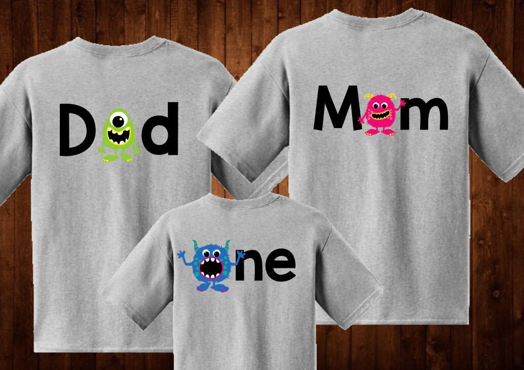 One Shirt Family shirts Monster theme for birthday