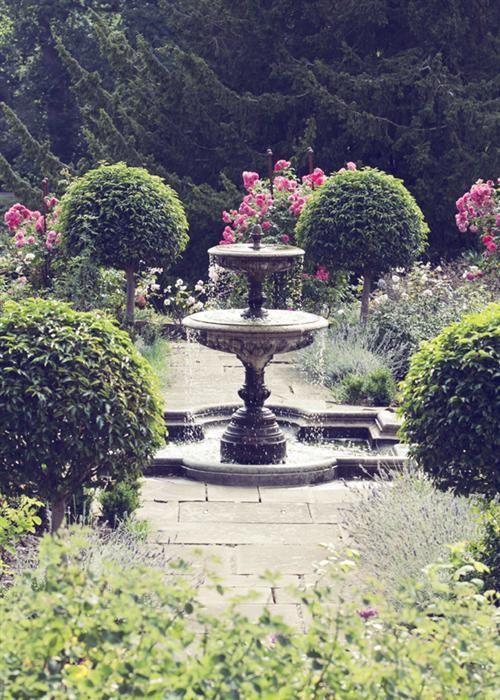 romantic garden fountain An Elegant Castle Wedding   Romantic, Rose and Gardens