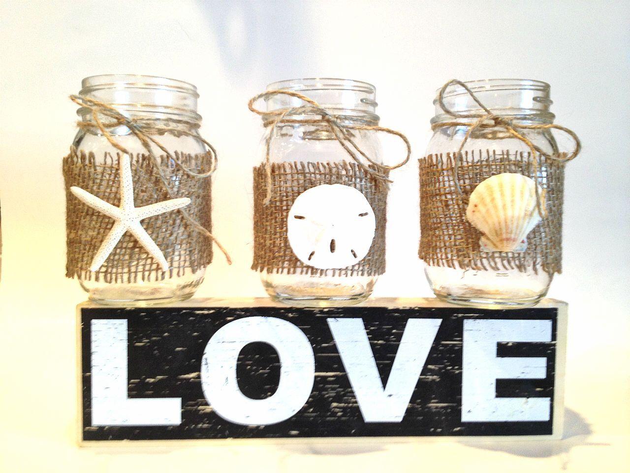 Beach wedding sand ceremony sets  Set of  Mason jar centerpiececandle holder beach wedding mason