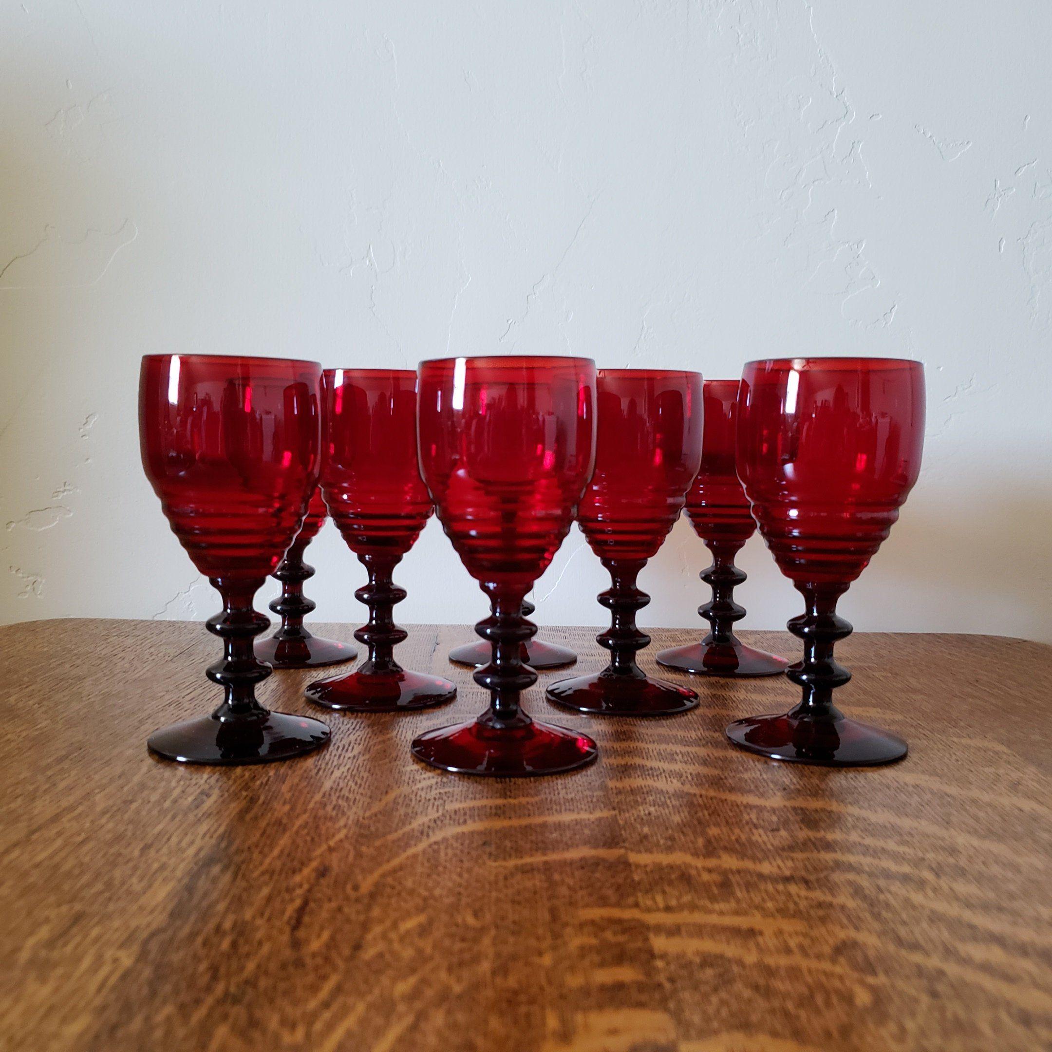 Ruby Penny Lane Wine Glasses Set Of 8 By Paden City Etsy Wine Glasses Wine Penny Lane