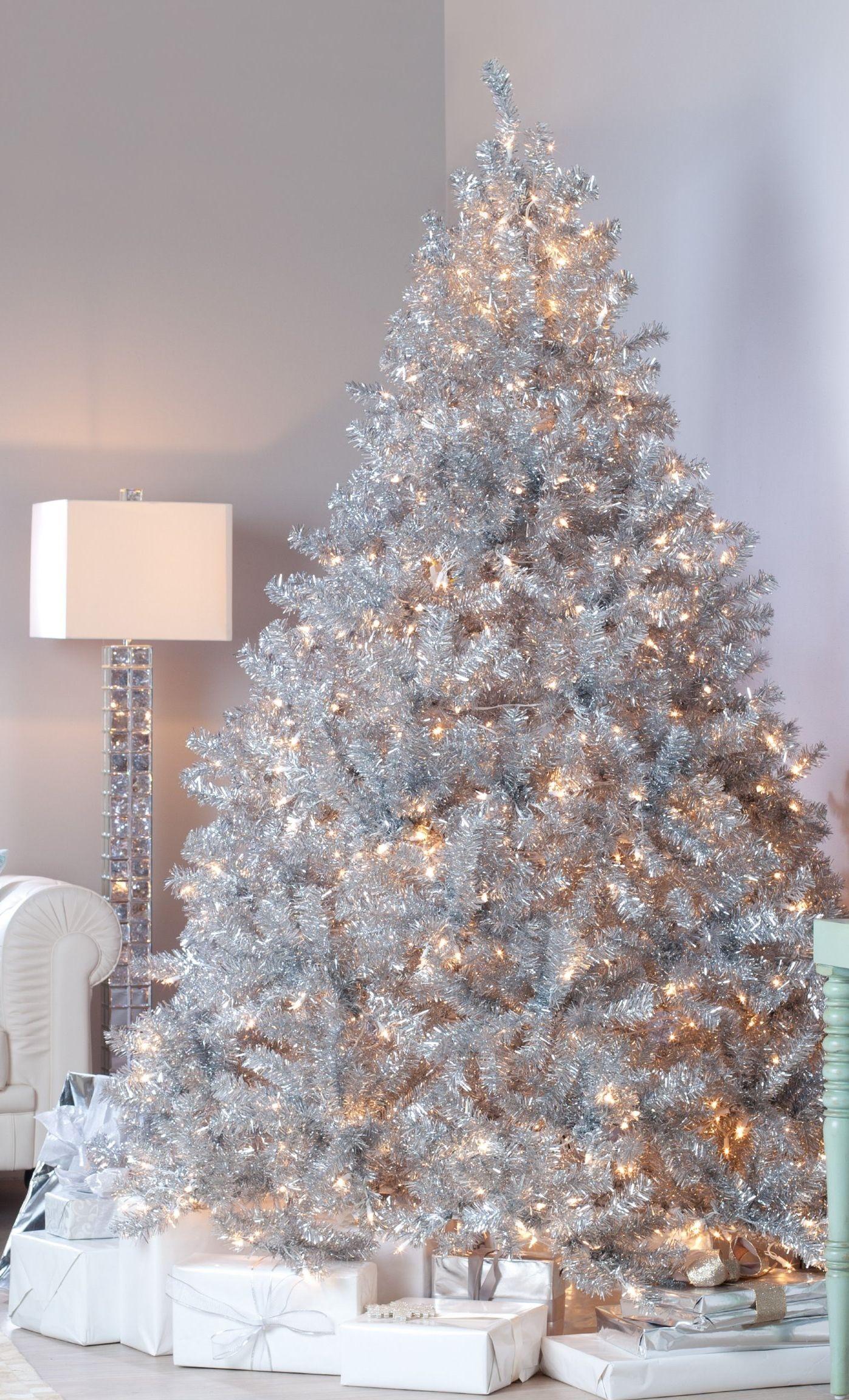 Amazing silver design christmas tree christmas trees - Christmas tree silver and red ...