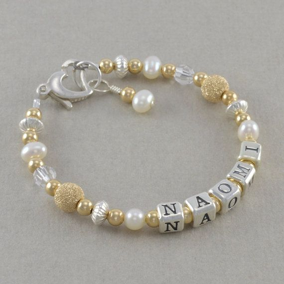 Gold and Silver Name Bracelet Sterling Silver 14k Gold baptism