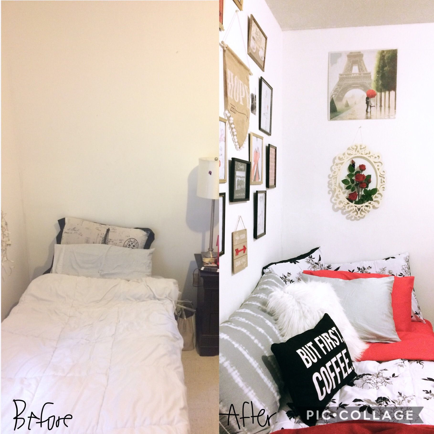 Before And After Small Bedroom Makeover Small Budget Red Bedroom