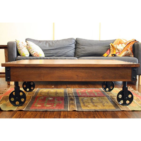 Like That It S Easily Movable Timber Reclaimed Wood Cart Wheels Coffee Table