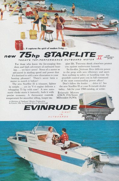 1959 Evinrude Starflite II Outboard Motor Ad 1950s Vintage Advertising Boat  Photo Print Wall Art Decor. Cabin CruiserVintage ...