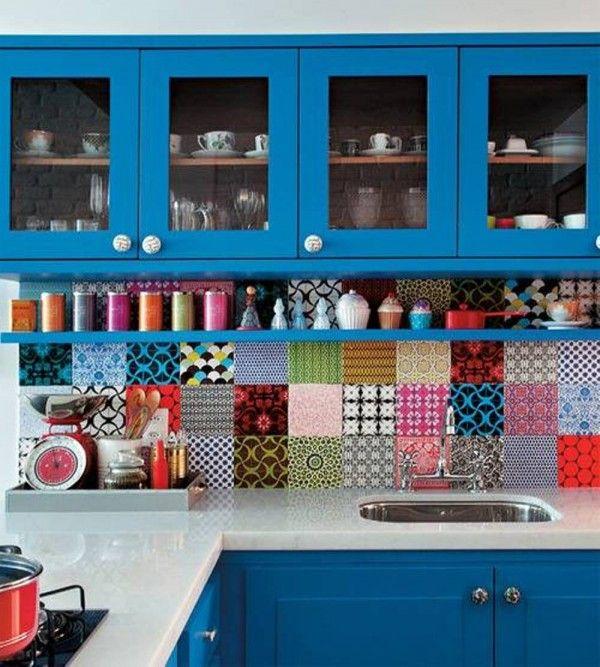 Für Farbliebhaber: Patchwork-Küche. >>Kitchen, Backsplash Kitchen ...