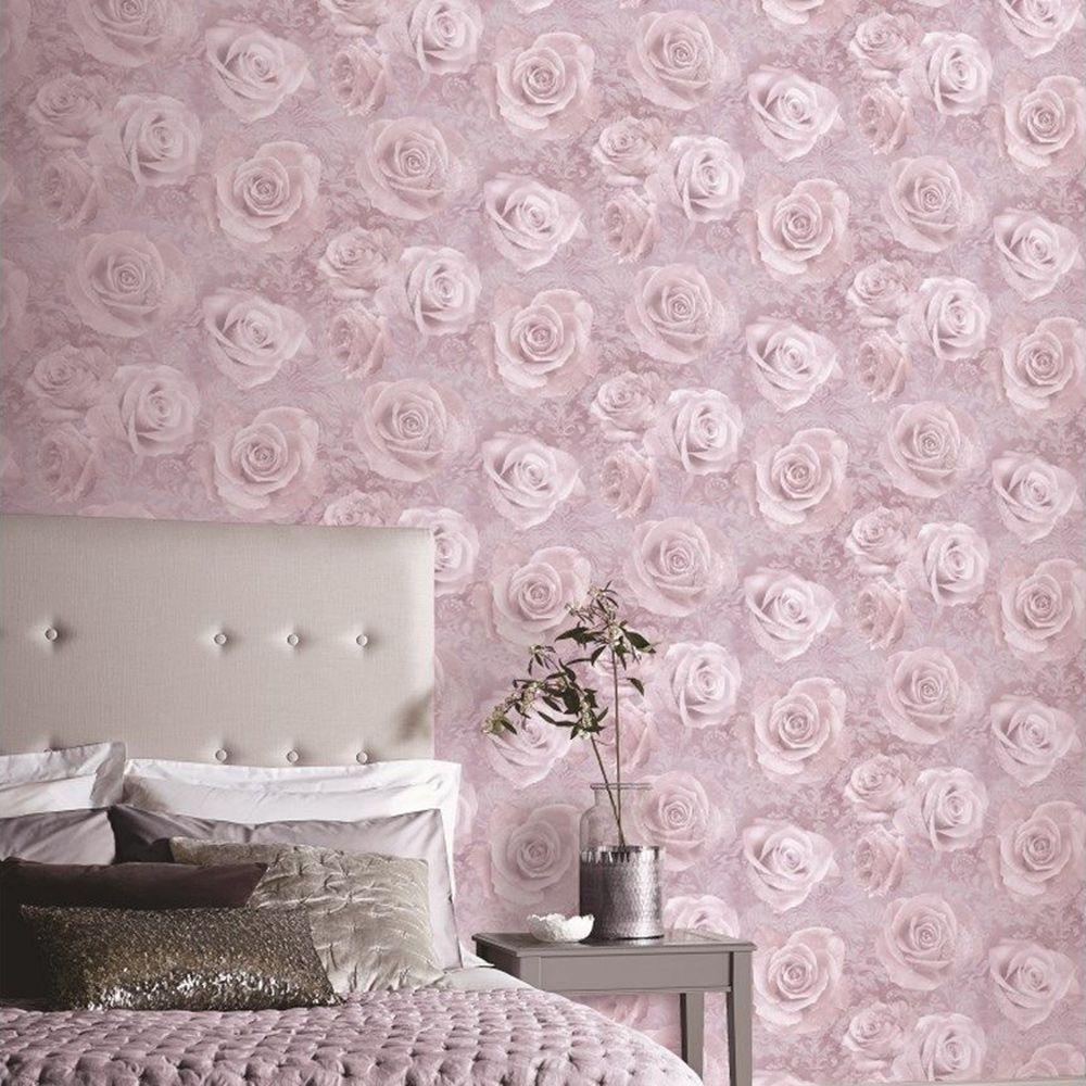 Reverie Rose Wallpaper Blush Arthouse 623302 Pink, grey