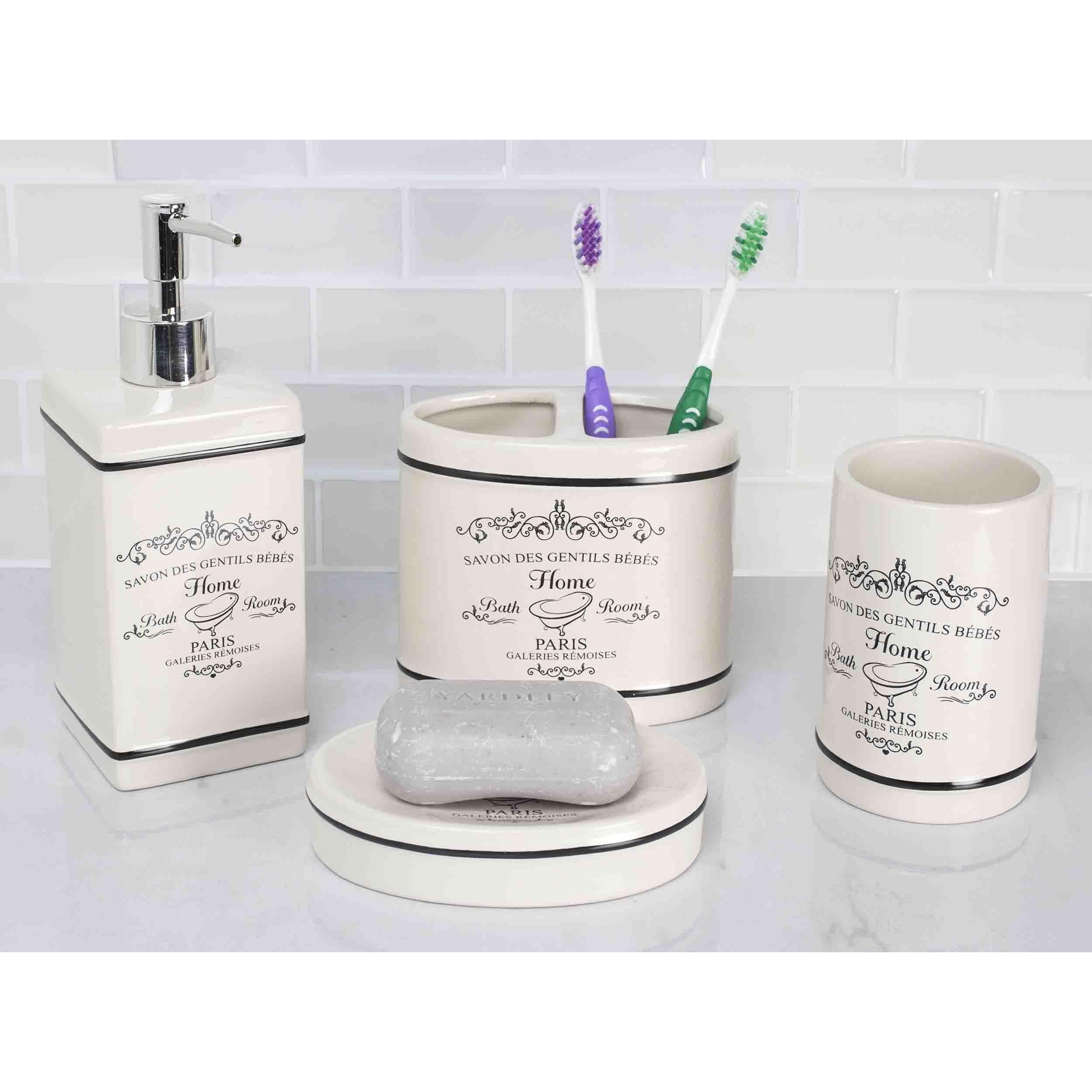 Home Basics Paris Off-White Ceramic 4-piece Bathroom Accessory Set ...
