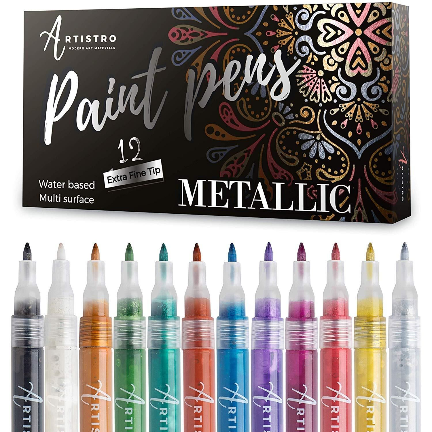 Metallic Paint Pens For Rock Painting And More Set Of 12 Acrylic Paint Markers Extra Fine Tip 0 7mm Paint Pens For Rocks Paint Pens Glitter Paint Pens