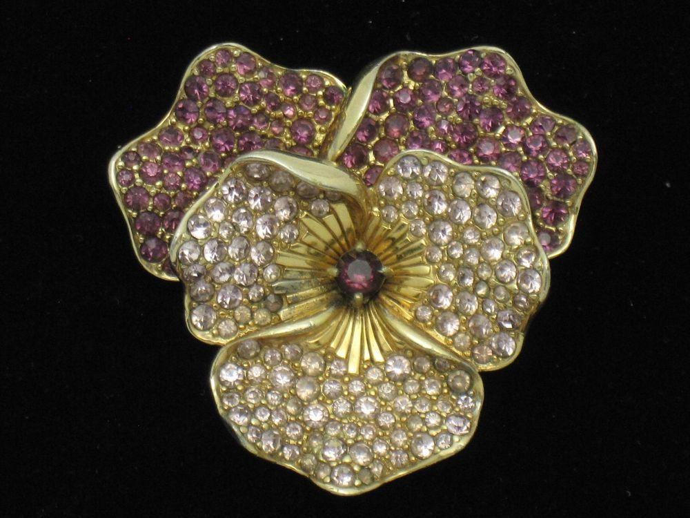 8faf7512f BOUCHER Vintage Rhinestone Pansy Flower Figural Brooch Pin #Boucher ...