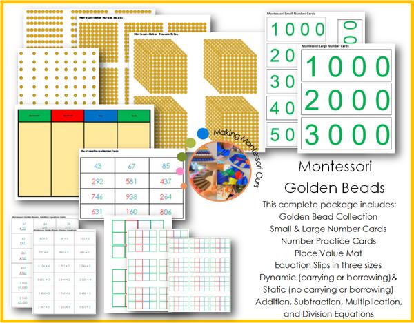 Montessori Golden Beads And Materials Printable Montessori Golden Beads Packagea Complete Set Of Mon Montessori Math Activities Montessori Montessori Materials