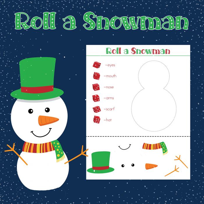 roll a snowman printable dice game a super fun winter activity for rh pinterest com